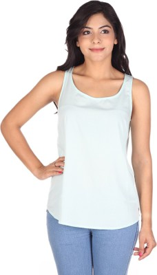 So Urban Casual Sleeveless Solid Women's Green Top