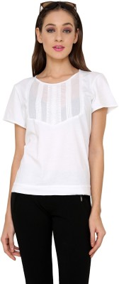 Rena Love Casual Short Sleeve Solid Women's White Top