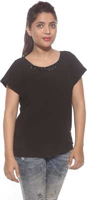 Pepe Casual Short Sleeve Solid Women's Black Top