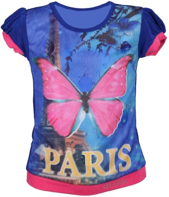 LEI CHIE Casual Short Sleeve Animal Print Girl's Blue Top