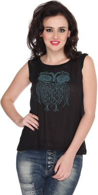 Bedazzle Party Sleeveless Printed Women's Black Top at flipkart