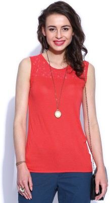 D Muse by DressBerry Casual Sleeveless Solid Women's Red Top