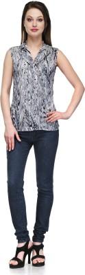 Glamdiva Casual Sleeveless Geometric Print Women's Grey, Black Top