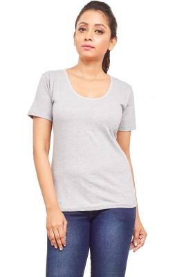 ELINA Casual, Party, Sports, Lounge Wear, Beach Wear Short Sleeve Solid Women's Grey Top