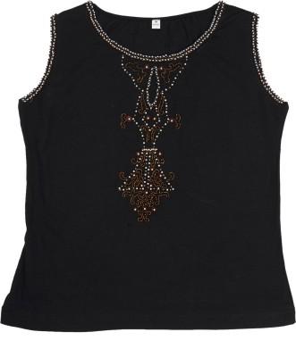 Cappadocia Casual Sleeveless Embroidered Women's Black Top