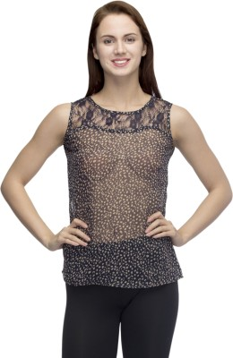 Primo Knot Casual Sleeveless Animal Print Women's Blue Top