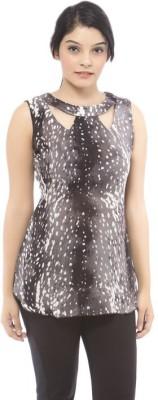 Dessara Casual Sleeveless Animal Print Women's Grey Top