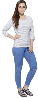 Fugue Casual 3/4 Sleeve Solid Women's Grey Top