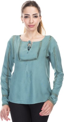 Falak Casual Full Sleeve Solid Women's Blue Top