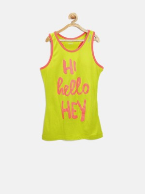 Reebok Casual Sleeveless Printed Girl's Yellow Top