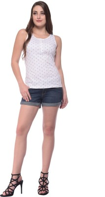 Nineteen Casual Sleeveless Solid Women's White Top