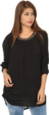 Passion Casual 3/4 Sleeve Solid Women's Black Top