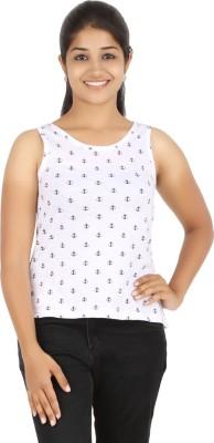 HALF INCH Casual Sleeveless Printed Women's White Top