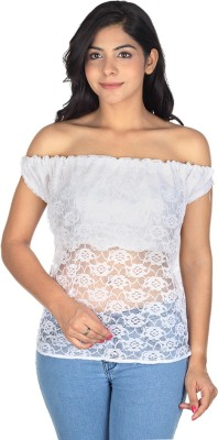 Augadh Casual Sleeveless Self Design Women's White Top