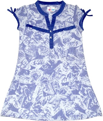 Young Birds Casual, Formal Short Sleeve Printed Girl's Blue Top