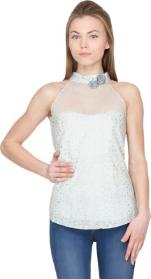 Species Casual Sleeveless Embellished Women's Grey Top
