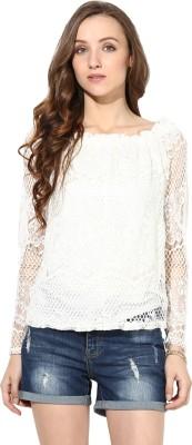 Rose Vanessa Casual Full Sleeve Self Design Women's White Top