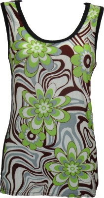Dovekie Casual Sleeveless Printed Women's Brown, Green, White Top