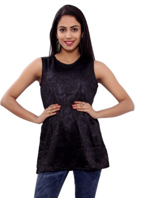 GMI Casual Sleeveless Solid Women's Black Top