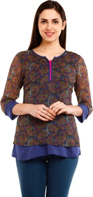 Mustard Casual 3/4 Sleeve Printed Women's Multicolor Top