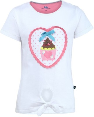 Bells and Whistles Casual Short Sleeve Printed Girl's White Top
