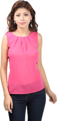 F by Faten Casual Sleeveless Solid Women's Pink, Pink Top