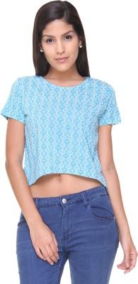 Alibi By Inmark Casual Short Sleeve Printed Women,s Blue Top