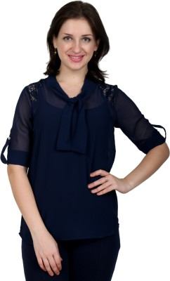 Lmode Casual, Party Roll-up Sleeve Solid Women's Dark Blue Top