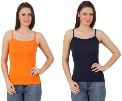 99DailyDeals Casual, Party, Sports, Beach Wear, Festive Sleeveless Solid Women's Orange, Black Top