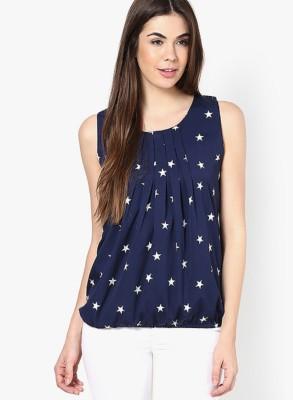 Uttam Enterprises Casual Sleeveless Printed Women's Blue Top