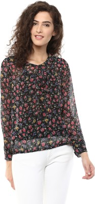 Color Cocktail Casual Full Sleeve Printed Women's Black Top
