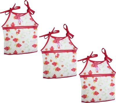 SRIM Casual Sleeveless Printed Baby Girl's White, Pink Top