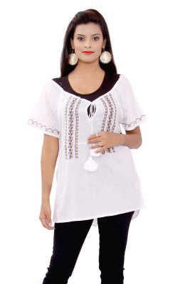 SML Casual Short Sleeve Embroidered Women's White Top