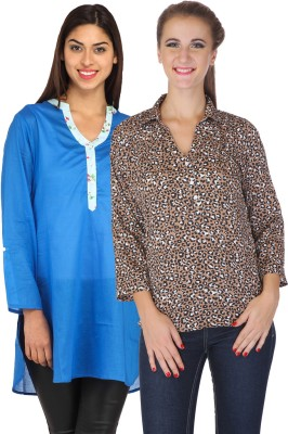 My Addiction Casual Full Sleeve Animal Print Women's Blue, Brown Top