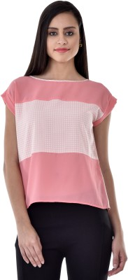 Colors Couture Casual Short Sleeve Printed Women's Pink Top