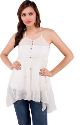 Centiaro Casual Sleeveless Solid Women's Beige Top