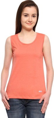 ADRO Casual Sleeveless Solid Women's Orange Top