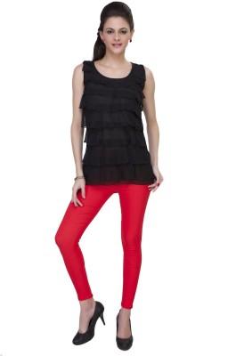 IshinDesignerStudio Casual Sleeveless Solid Women's Black Top