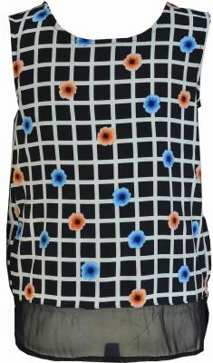 Pinehill Casual Sleeveless Checkered Girl's Black Top