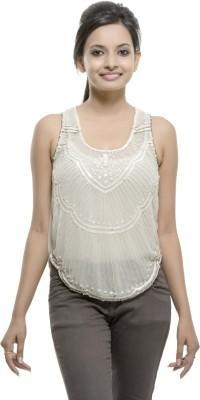 Kashana Fashions Party Sleeveless Embellished Women's White Top