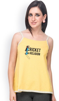 Campus Sutra Casual Sleeveless Printed Women's Yellow, White Top