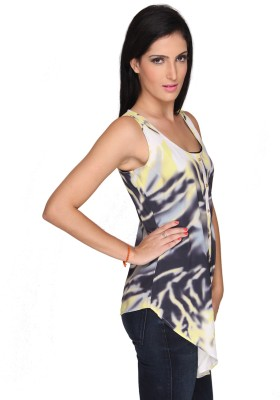 Bombay High Casual Sleeveless Printed Women's Black Top