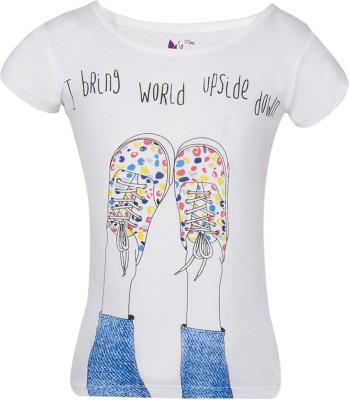 Miss Alibi Casual Puff Sleeve Printed Girl's White Top