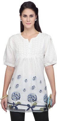 Viro Casual, Party Short Sleeve Embroidered Women's White Top