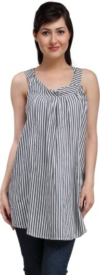Eves Pret A Porter Casual Sleeveless Striped Women's White, Black Top