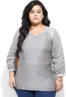 Amydus Casual Full Sleeve Self Design Women's Grey Top