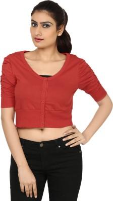 Haniya Casual 3/4 Sleeve Solid Women's Red Top