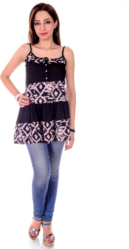 Goodwill Impex Casual Sleeveless Printed Women's Black Top