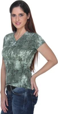 Fast n Fashion Casual Short Sleeve Geometric Print Women's Green Top