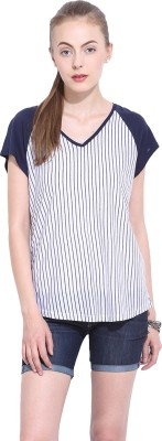 Leo Sansini Casual Short Sleeve Striped Women's Blue, White Top